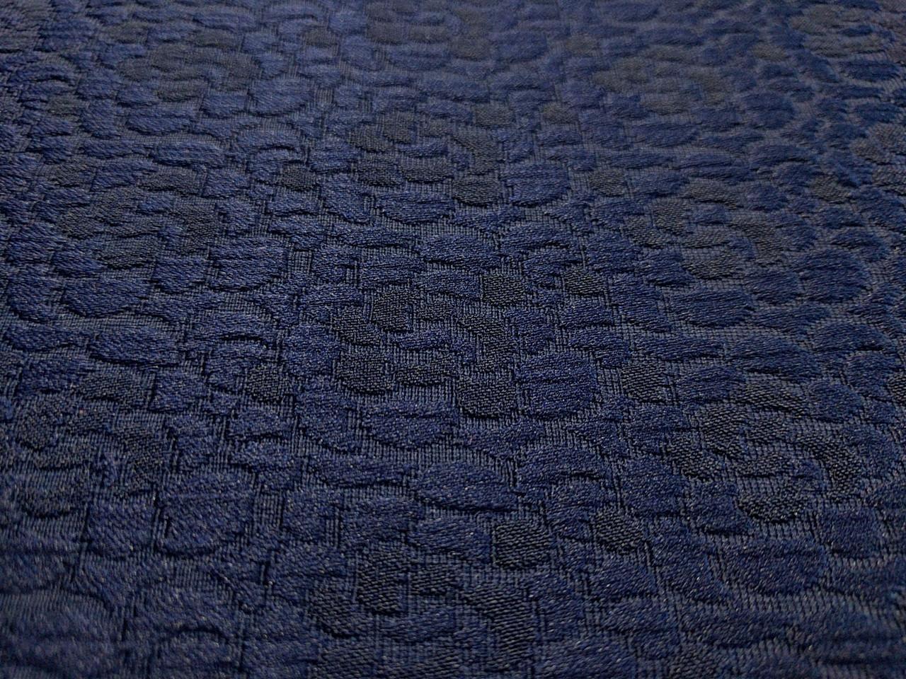 Жаккард коттоновый мелкий цветочек, темно-синий
