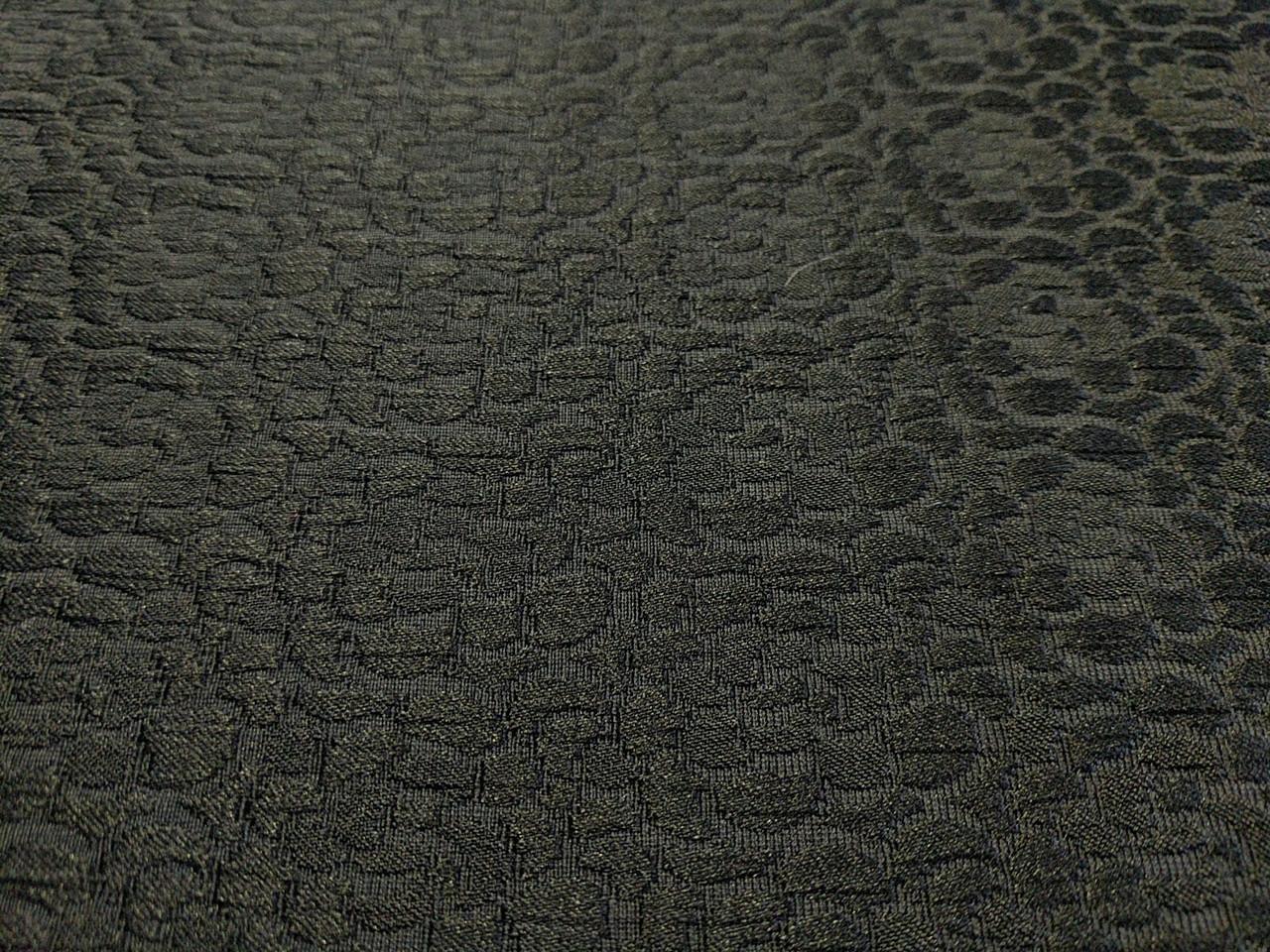 Жаккард коттоновый мелкий цветочек, черный