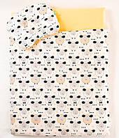 Летний комплект в коляску BabySoon Персиковые барашки одеяло 65 х 75 см подушка 22 х 26 см (573), фото 1