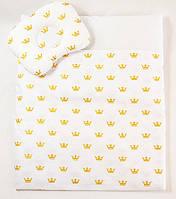 Летний комплект в коляску BabySoon Золотые короны одеяло 65 х 75 см подушка 22 х 26 см (574), фото 1