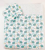 Летний комплект в коляску BabySoon Мятные ежики одеяло 65 х 75 см подушка 22 х 26 см (577), фото 1