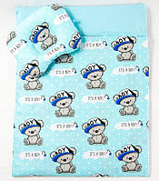 Летний комплект в коляску BabySoon Мишки в кепке одеяло 65 х 75 см подушка 22 х 26 см (582), фото 1