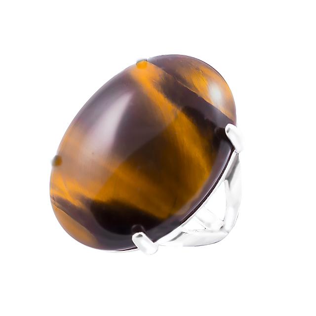 Тигровый глаз, 25*18 мм., серебро 925, кольцо, 081КГ