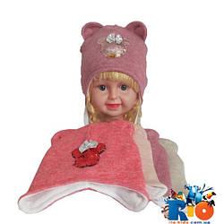 Детская шапка на флисовой подкладке, для девочки р-р 46-48 (5 ед в уп)