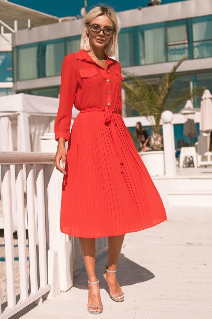 ce8d9c7ce91 Платье рубашка шифоновое модное летнее с юбкой плиссе миди Smdi2562 ...