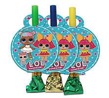 """Язычок  гудок карнавальный """" Куклы Лол """", 6 шт. в уп."""