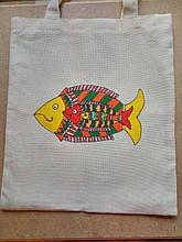 Эко-сумка шоппер индийская роспись Рыбки ручная работа