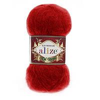 Турецкая пряжа для вязания нитки Alize KID ROYAL 50 (Кид Рояль 50) кид мохер 56 красный