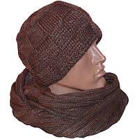 Мужская вязаная шапка объемной вязки и шарф-снуд