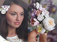 """Заколка с цветами """"Цветочный этюд"""", фото 1"""