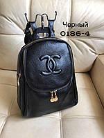 Черный городской  женский рюкзак Шанель