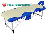 Массажный стол 01A 2-х секционный бежевый с синей волной (МСТ-002Л)