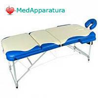 Массажный стол 01A М/К (3-х секционный) бежевый с синей волной (МСТ-102Л)