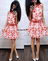 Женское летнее платье из креп-шифона с притом da11d11ebc4a7