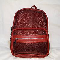 Женский красный блестящий рюкзачок 31/23 см, фото 1