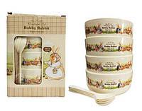 Набор Детских Тарелок с Ложечками Bobby Rabbit Wonderful Life (Большой), фото 1