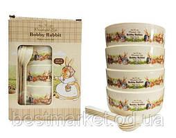 Набор Детских Тарелок с Ложечками Bobby Rabbit Wonderful Life (Большой)
