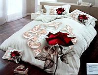 5D Сатиновое двуспальное постельное белье - Роза