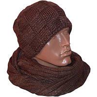 Мужская вязаная шапка на подкладке объемной вязки и шарф-снуд