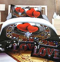 5D Сатиновое двуспальное постельное белье - Love
