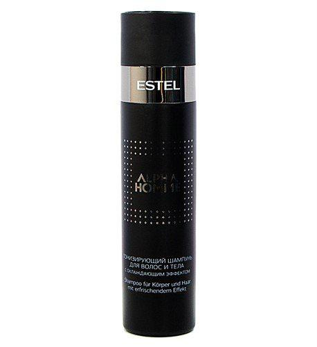 Тонизирующий шампунь с охлаждающим эффектом для волос и тела для мужчин Estel Alpha Homme 250 мл.