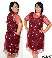 Платье нарядное,сетка с вышивкой 50 52 54 56р, фото 1