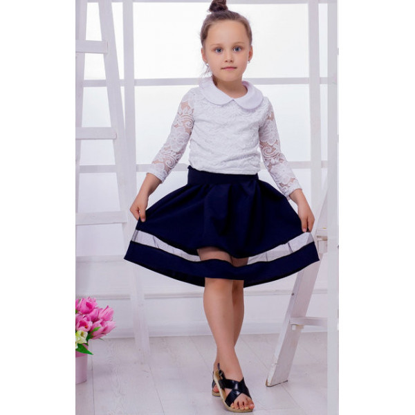 """Стильная юбка с сеточкой """"Ника"""" черная и темно-синяя"""