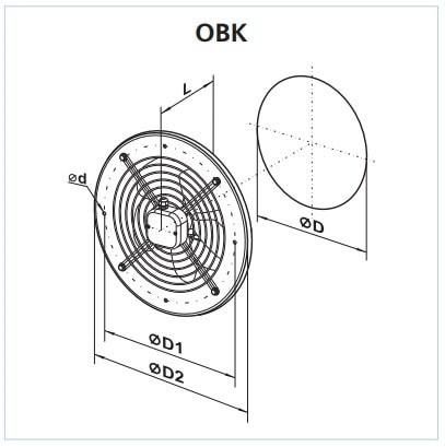 Габаритные размеры осевого вентилятора ВЕНТС ОВК 4С 300