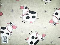 """Натуральная ткань для штор и скатертей с веселым набивным рисунком """"коровки"""" Maiorca 1033"""