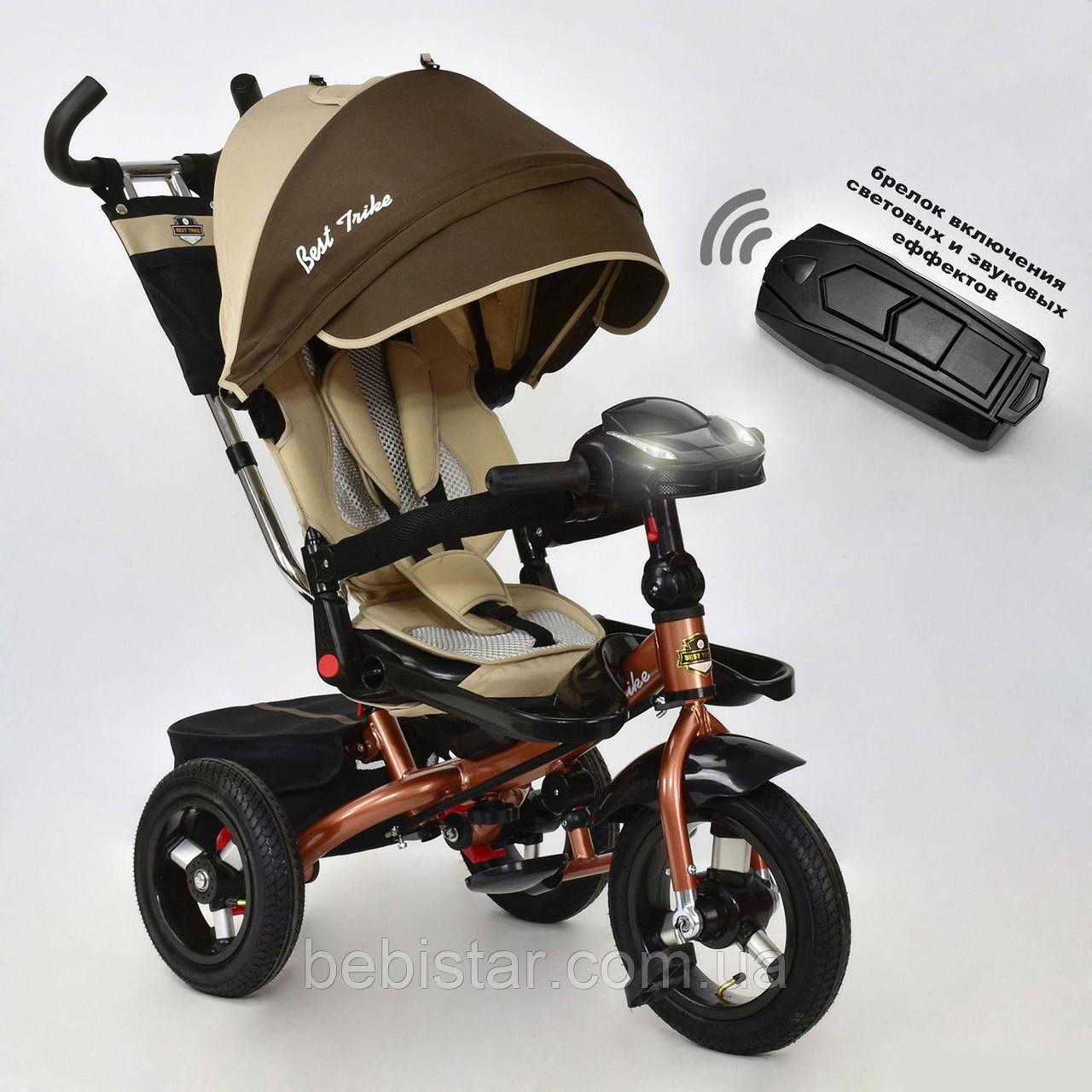 """Трехколесный велосипед """"Best Trike 6088 F"""" бронза с пультом надувн колеса поворот сидение музыка и свет"""