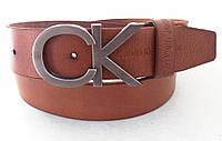 Коричневый кожаный ремень Calvin Klein, фото 1