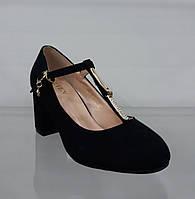 Женские туфли черные замшевые с ремешками на устойчивом каблуке b612c7532e84c