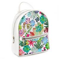 Рюкзак школьный подростковый белый Тропики