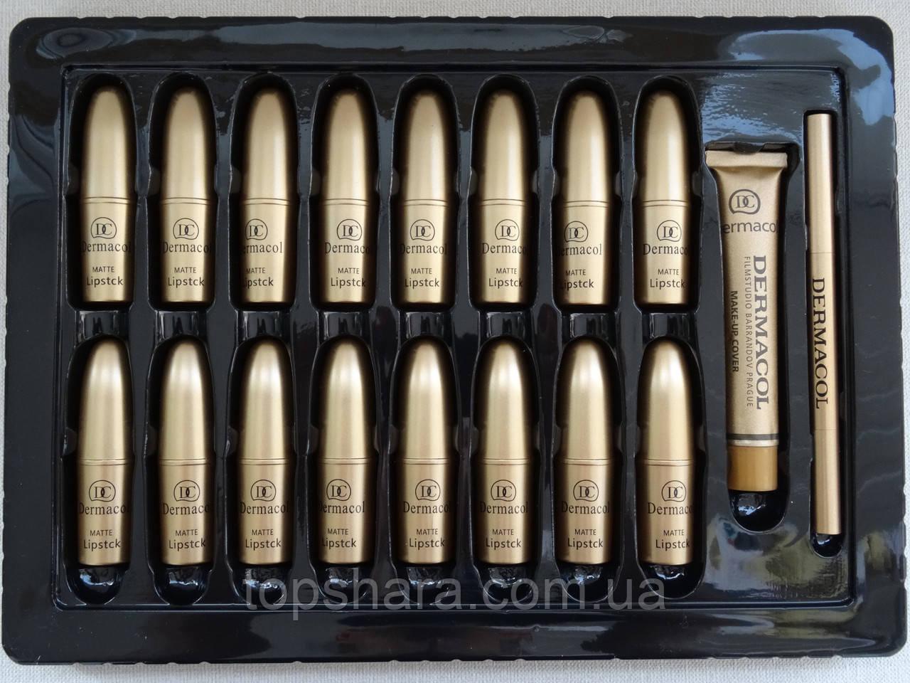 Набір matte liquid lipstck Dermacol 18 в 1 + тональний крем, олівець для бров