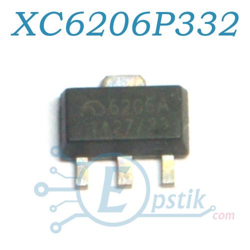 XC6206P332PR, (6206A), стабилизатор напряжения 3.3, 200мА, SOT89