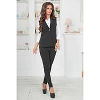 Стильный брючный костюм жилетка и брюки черный и синий Ксения