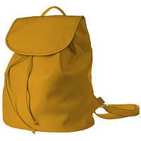 Рюкзак стильный женский кожзам с крышкой желтый MMX1_ZHL