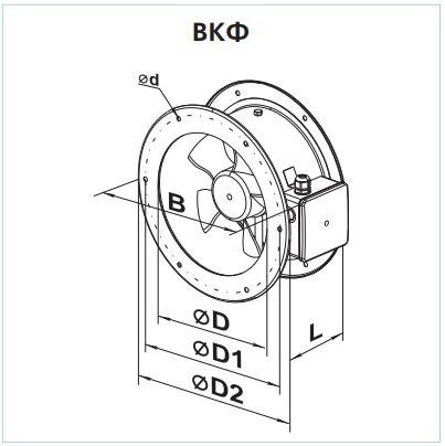 Габаритные размеры осевого вентилятора ВЕНТС ВКФ 4Д 630