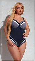 Польский купальник женский слитный синий Kris Line Marina 2018 (купальники большого размера, мягкие чашки)