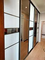 Встроенный шкаф купе в гостиную / стекло Lacobel с бронзовым зеркалом, фото 1
