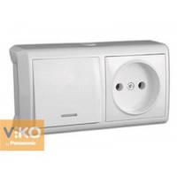 Горизонтальный блок, выключатель с подсветкой+розетка Viko Vera