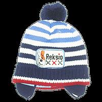 Детская вязаная шапочка с подкладкой из флиса на завязках, ТМ Ромашка, р. 46-48