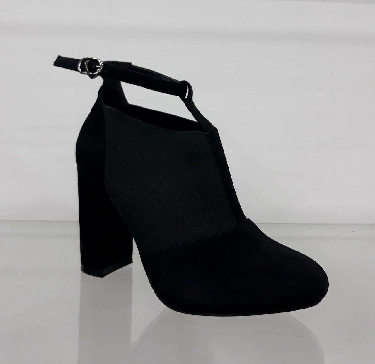 7e90c0abf Туфли женские с резинкой и ремешком на толстом каблуке - Интернет магазин