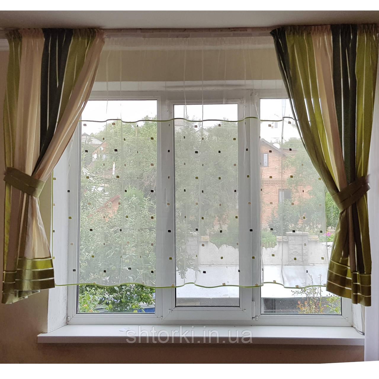 Комплект  штор и тюль  Салатовая полоска