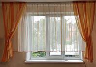 Комплект  штор и тюль  Оранжевая  полоска до подоконника, фото 1