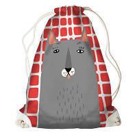 Рюкзак-мешок Серый кот на фоне в клетку RM_ILI040_WH