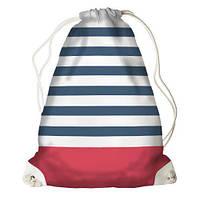 Рюкзак-мешок спортивный на шнурках Синяя полоска RM_16J018_WH