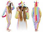 Пижама Женская Кигуруми радужный единорог M флисовая теплая, фото 4