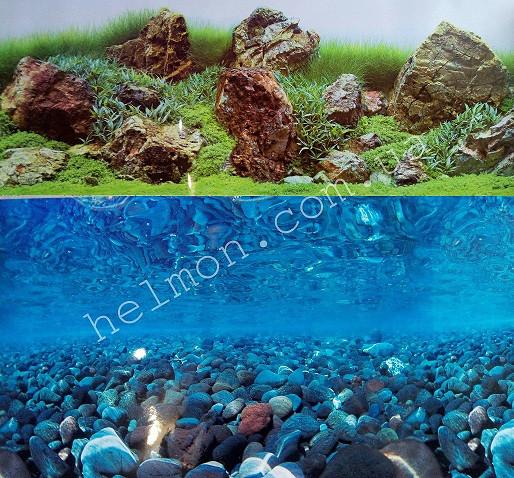 Фон для аквариума двусторонний  дно речки/акваскейп, высота 40 см, Hagen 11756