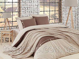 Постельное белье First Choice de luxe с пледом вязаным 220*240 - Nirvana Raina  Ekru